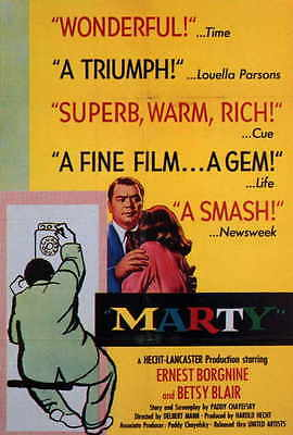 MARTY Movie POSTER 27x40 Ernest Borgnine Betsy Blair Joe Mantell Esther