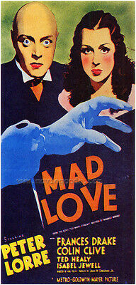 MAD LOVE Movie POSTER 27x40 C Peter Lorre Colin Clive Frances Drake Ted Healy