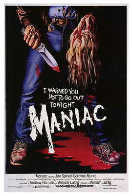 MANIAC Movie POSTER 27x40 Joe Spinell Caroline Munro Gail Lawrence Kelly Piper