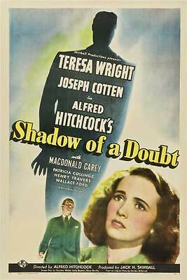 SHADOW OF A DOUBT Movie POSTER 27x40 C Teresa Wright Joseph Cotten Hume Cronyn