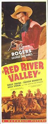 """RED RIVER VALLEY Movie POSTER 14x36 Insert Roy Rogers George """"Gabby"""" Hayes"""