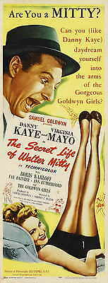 THE SECRET LIFE OF WALTER MITTY Movie POSTER 14x36 Insert Danny Kaye Virginia