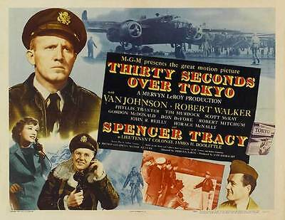 THIRTY SECONDS OVER TOKYO Movie POSTER 22x28 Half Sheet B Spencer Tracy Van