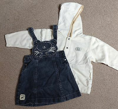 Miniman Pinafore & Hooded Top 2-3y, Worn Once!!! Cat Dungaree Denim