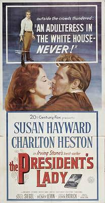 THE PRESIDENT'S LADY Movie POSTER 20x40 Susan Hayward Charlton Heston John