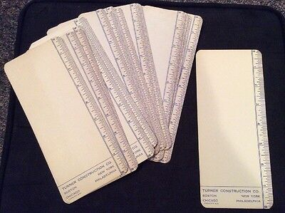 Lot of 20 Vintage Turner Construction 8 inch Ruler Heavy Stock Cards
