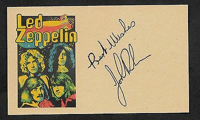 John Bonham Autograph Reprint On Genuine Original Period 1970s 3x5 Card