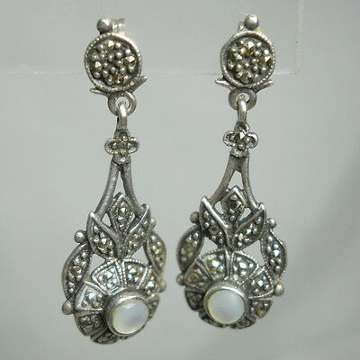 ART DECO Sterling Silver 925 Vintage Estate Dangle Post Earrings with MARCASITE