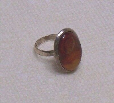Vintage Sterling Silver 925 Carnelian Agate stone Ring size 8.25 unisex 8.2 g