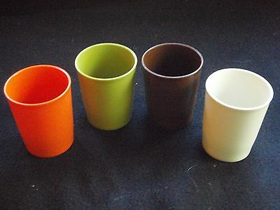 Vintage Tupperware Small Juice Cups #1251. Classic Harvest Colors.