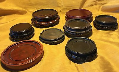 "Vtg Lot of 8 Chinese Wooden Vase Stand / Base / Pedestal 2.5"" to 3.75"""