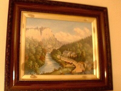 RARE Antique Victorian Scenic Painting On Porcelain Artist Signed In Orig Frame