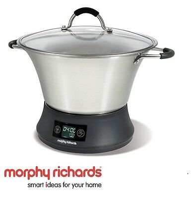 New Morphy Richards Flavour Savour Slow Cooker 6.5 Litre Stainless Steel 48787