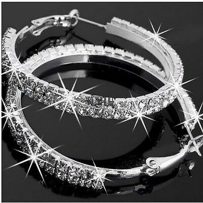 74bc352867 Fashion Women s Rhinestone Crystal Hoop Round Big Earrings Ear Stud Jewelry  New