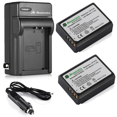 LP-E10 Battery(2Pack)+ Charger For Canon EOS Rebel T3 T5 1100D Kiss X50 Camera