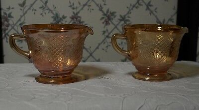 Pair of Vintage Federal Glass Normandie Bouquet and Lattice Creamers