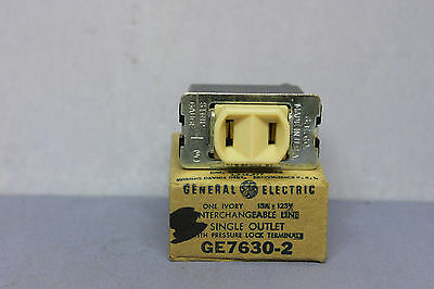 Vintage General Electric BAKELITE Single 2-prong Receptacle Outlet - GE7630-2