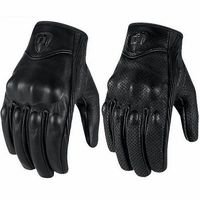 Bike Racing Motorcycle Riding Protective Armor Short Leather Gloves Mesh Black