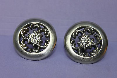 2 Vintage Antique SOLID Nickel Victorian Drawer Pulls Knobs Handles w/ Screws
