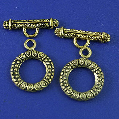 10sets dark gold-tone rose ring toggle clasps h1980