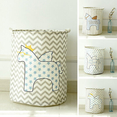 Cotton Linen Folding Laundry Basket Bin Tidy Storage Box Toy Clothes Washing Bag