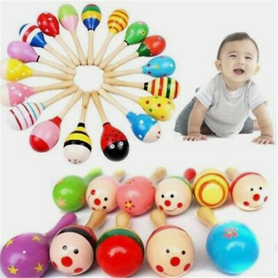 Wooden Wood Maraca Rattles Shaker Percussion Kid Baby Musical Toys Gifts 1pc ♫