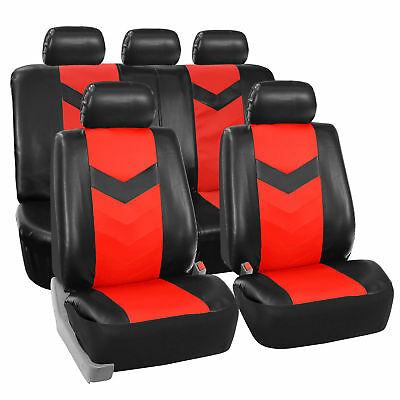 Faux Synthetic Leather Car Seat Covers Airbag / Split Ready Red Black
