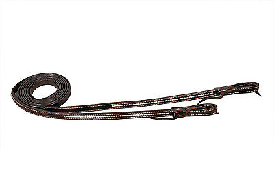 "Western Dark Oil Clear Stones Studded Leather Reins With Water Loop 72"" Long"