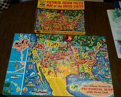 Walt Disney CHARACTER PICTORIAL MAP United States Puzzle COMPLETE 1950s 3042