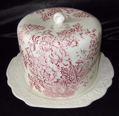 Large Vintage Crown Devon Fieldings Staffordshire Red & Cream Cheese Dome / Dish