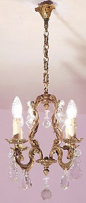 Superb 4 Light Vintage French Bronze and Crystal Birdcage Chandelier