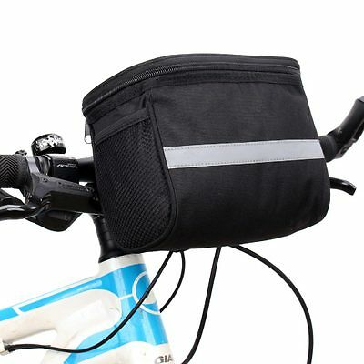 Black Bike Cycling Handlebar Bag Outdoor Bicycle Front Frame Pouch Pack