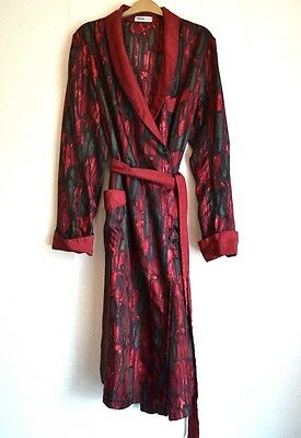 1950's vintage original Tricel robe dressing-gown red/green abstract pattern vgc