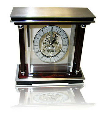 Mantel Clock Quartz Movement Antique Table Clock Wood Metal Glass Roman Numerals