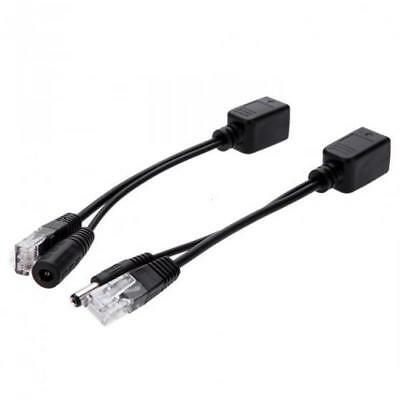 Black PoE Injector Splitter Adapter Cable for Security CCTV Network Camera