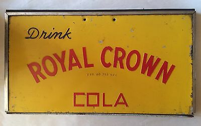Drink Royal Crown Cola RC Soda Sign Store Display Yellow & Red Vintage 1940s