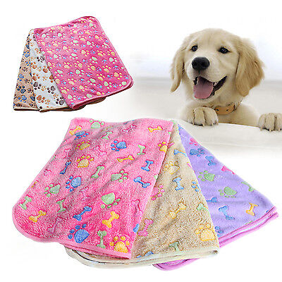 SUP Pet Small/Large Warm Paw Print Dog Puppy Cat Fleece Soft Blanket Beds Mat