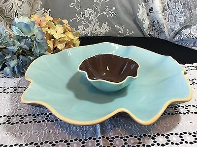 "Southern Living At Home Blue and Brown ""Catalina"" Chip & Dip Set 15 1/2"""