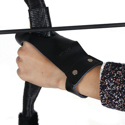 Cow Leather Archery Hand Guard Protector Shooting Glove for Left Hand Black