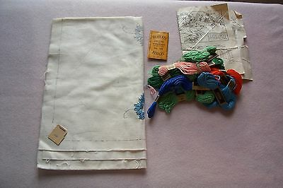 Vtg Antique Linen Stamped  Embroidery CLARKS THREAD NEEDLE PACK instructions