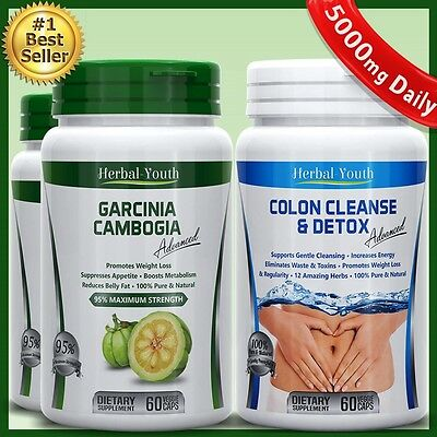 Garcinia Cambogia 95% & Colon Cleanse Detox Weight Loss Slimming Capsules Diet