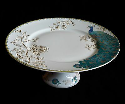 222 Fifth Peacock Garden Pedestal Cake Plate, Porcelain Pastry Stand w Gold Trim