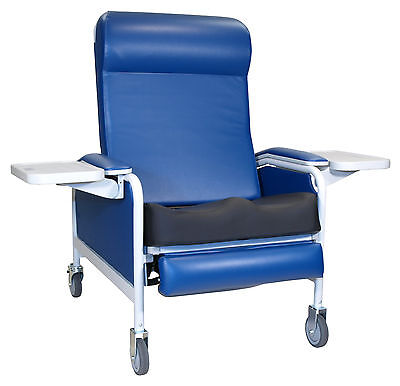 Three Position Extra Large Convalescent Recliner w/ Saddle Seat Royal Blue TB133