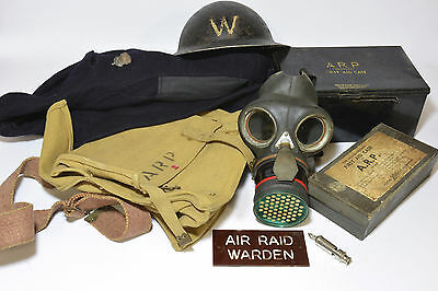 1940s WW2, complete ARP air raid precaution warden's kit, Home Front