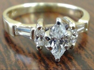 Estate Marquise Diamond Engagement Wed Ring Solid 14K Gold Sz 4.25 (Gp2004767)