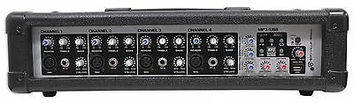 Rockville RPM45 2400w Powered 4 Channel Mixer, USB, 3 Band EQ, Effects, Phantom