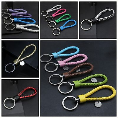 Braided Leather Fashion Men Women Metal Car Keyring Keychain Keyfob Gift Pendant