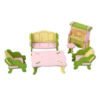 Hand Painted Dollhouse Miniature Wooden Living Room Furniture Set Toy Gift