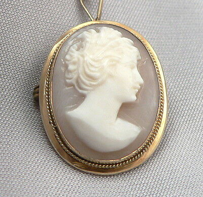 Vintage 800 Silver Vermeil Shell CAMEO Pendant Pin on Sterling Chain Necklace