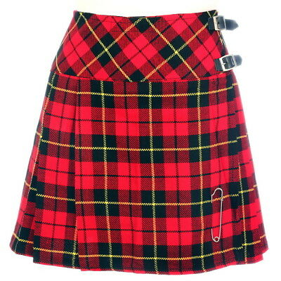New Ladies Wallace Tartan Scottish Mini Billie Kilt Mod Skirt Sizes 6-22UK
